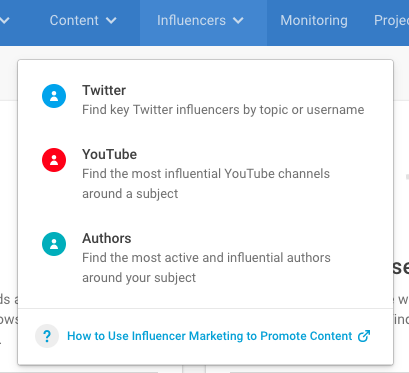 Use BuzzSumo's Influencers tool to find influential people in your niche.