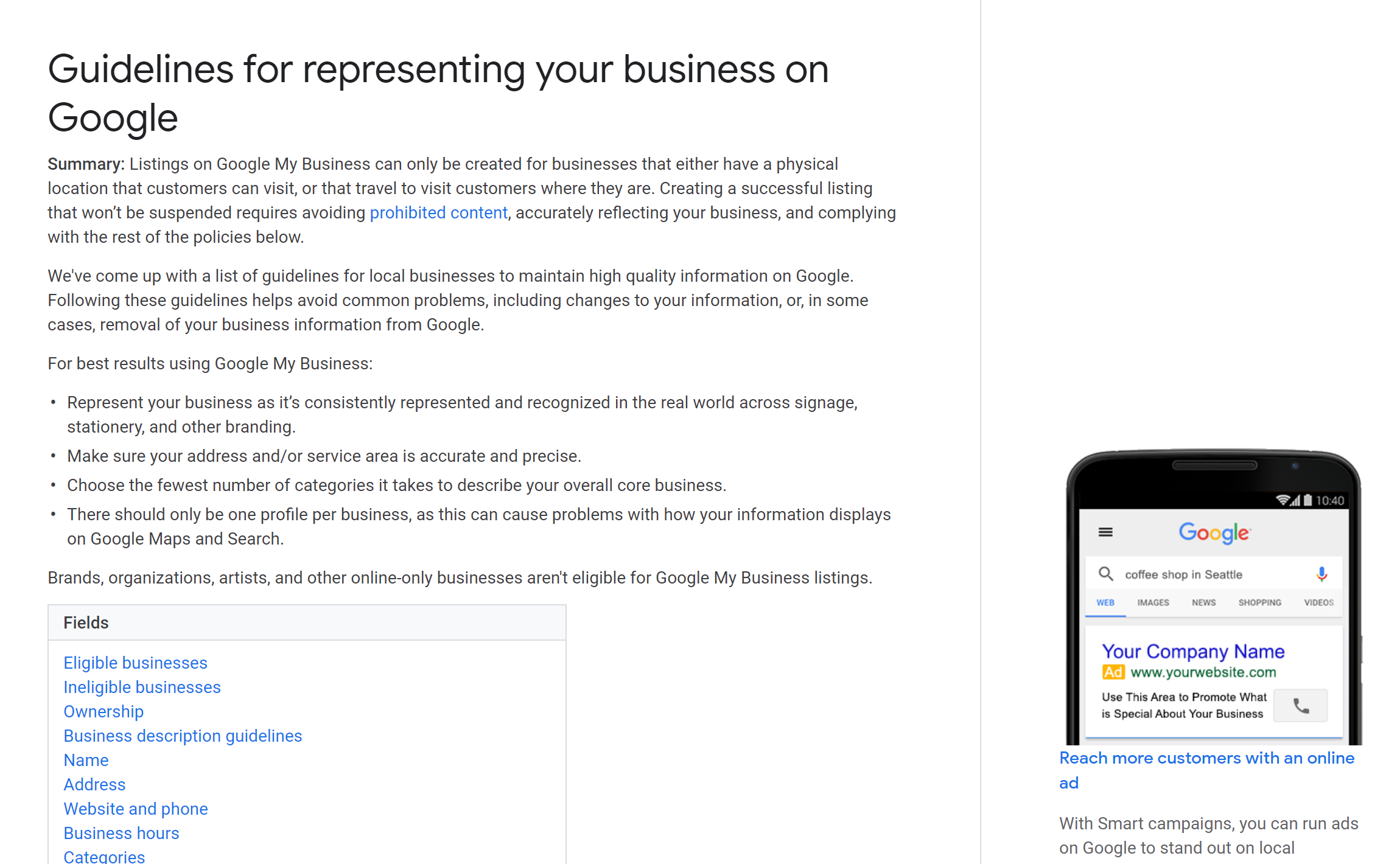 Guidelines for representing your business on Google