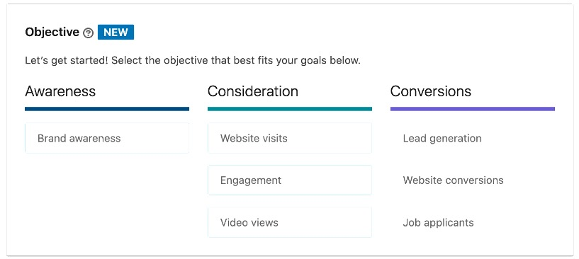 LinkedIn Ads campaign objectives