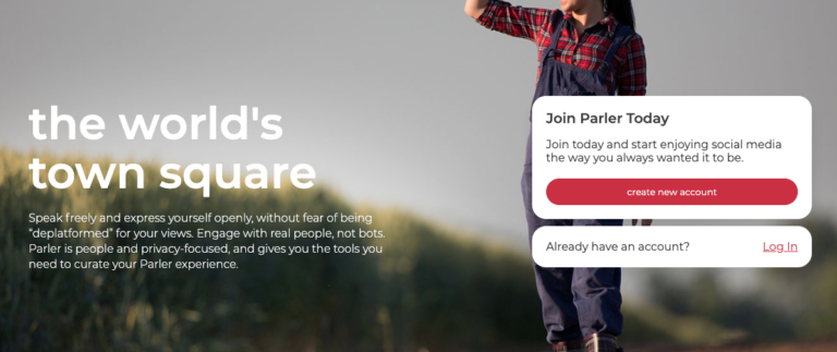 "Alternative social platform Parler bills itself as ""the world's town square."""