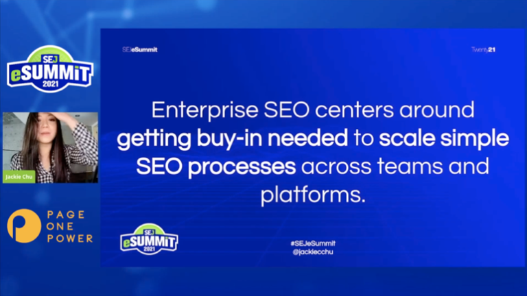 Jackie details what steps to take to scale your SEO for the Enterprise.