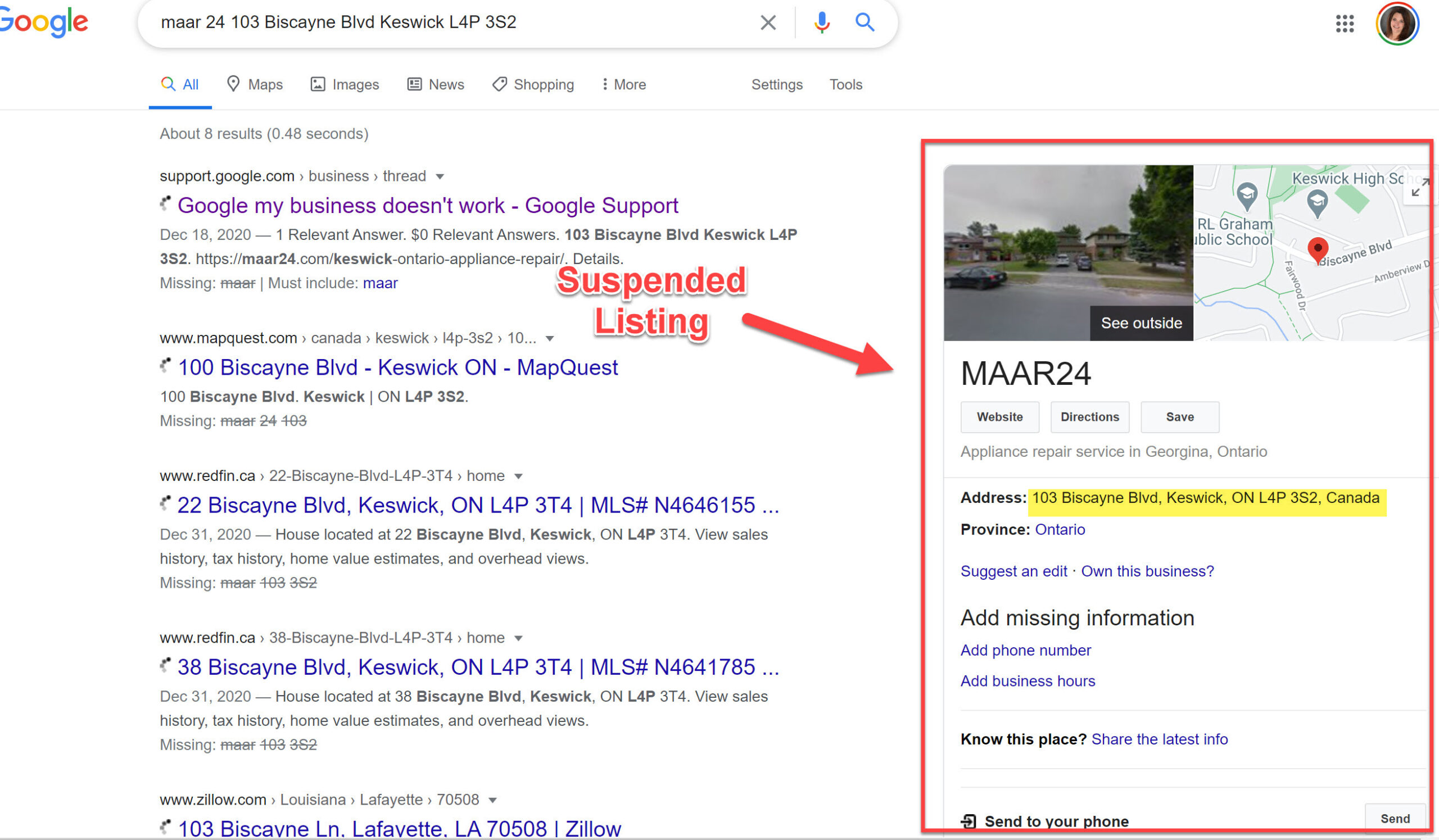 Suspended Google My Business Listing