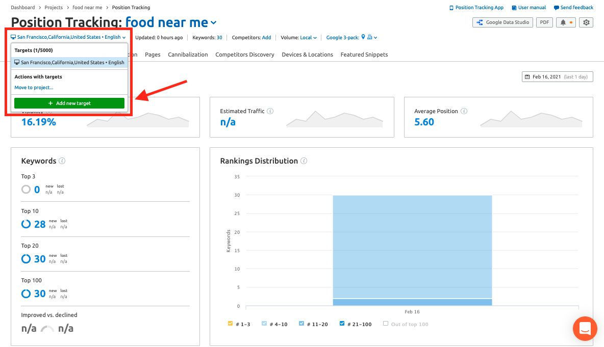 Using position tracking for the voice measurement portion in Semrush