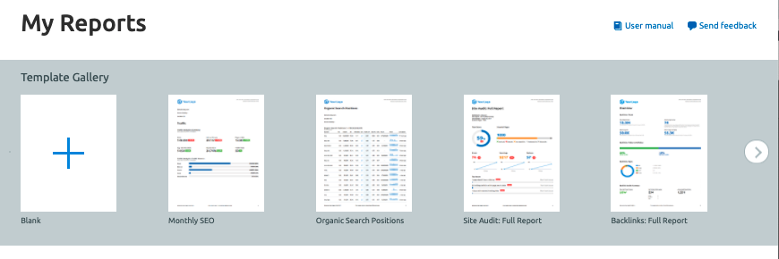 Use reports in Semrush for your client pitches.