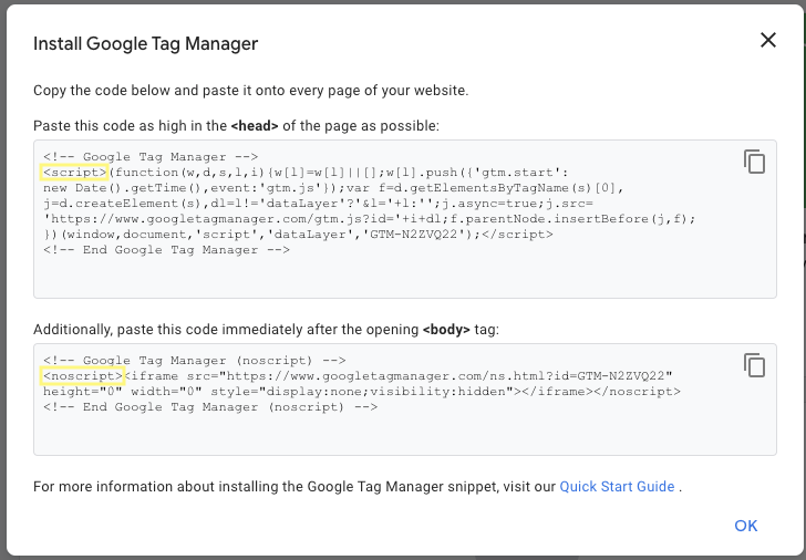 GTM Container Snippet Screenshot Example