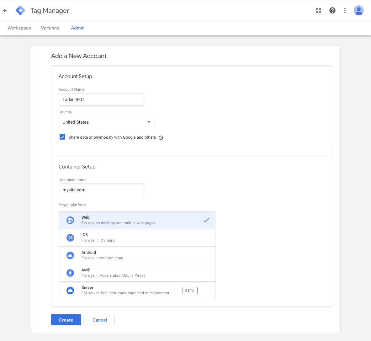 Create a GTM Account screenshot of required fields.