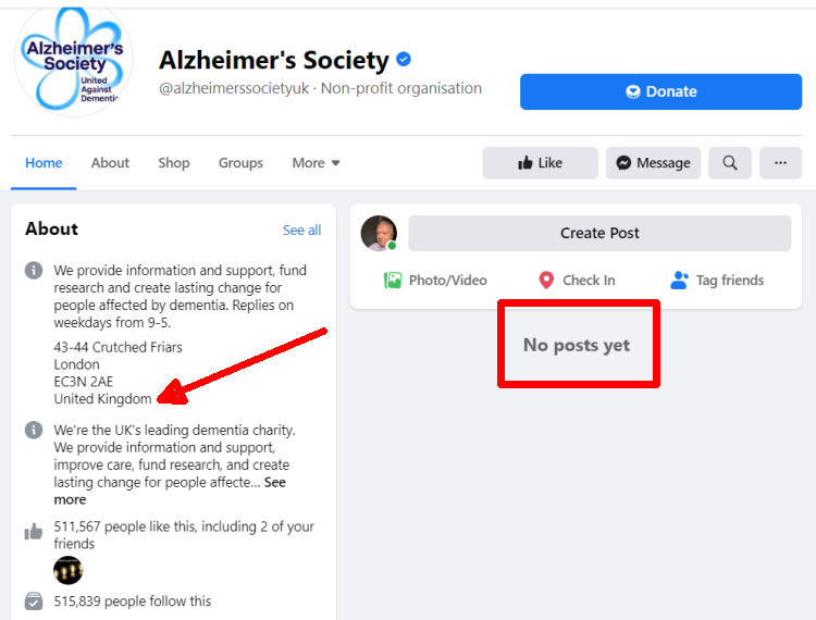 Screenshot of a UK non-profit's Facebook page with posts removed