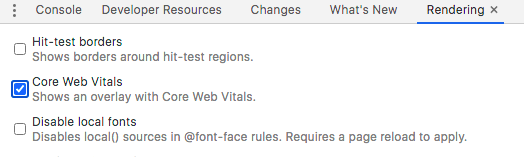 Enable Core Web Vitals in Rendering in Chrome Inspect tool