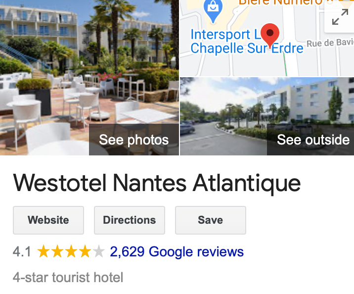 Example of Google's star rating system for French hoteliers
