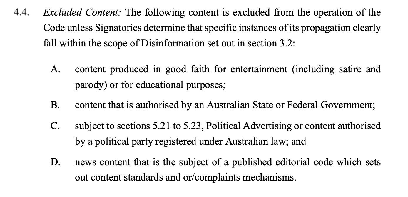 Section 4.4 of Australia's code