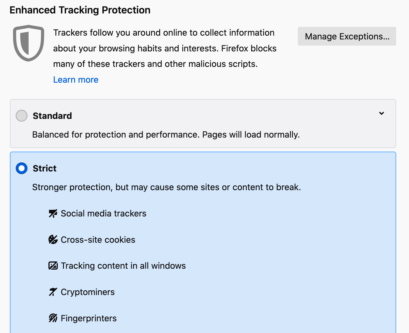 Enhanced Tracking Protection