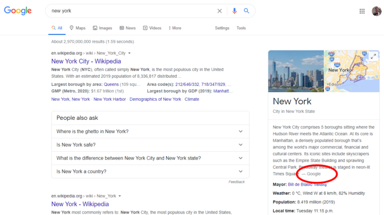 Google: New York SERP example
