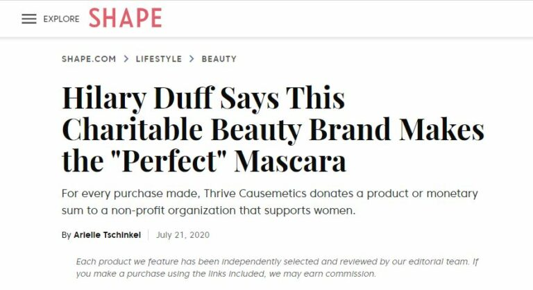 An article discussing a charitable beauty brand's mascara.