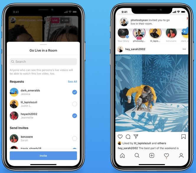 With Instagram, up to 4 people can go live in one stream