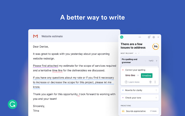 Screenshot fo the Grammarly extension.