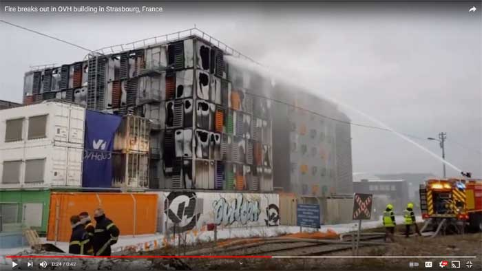 Screenshot of a video of the fire in the OVH data center