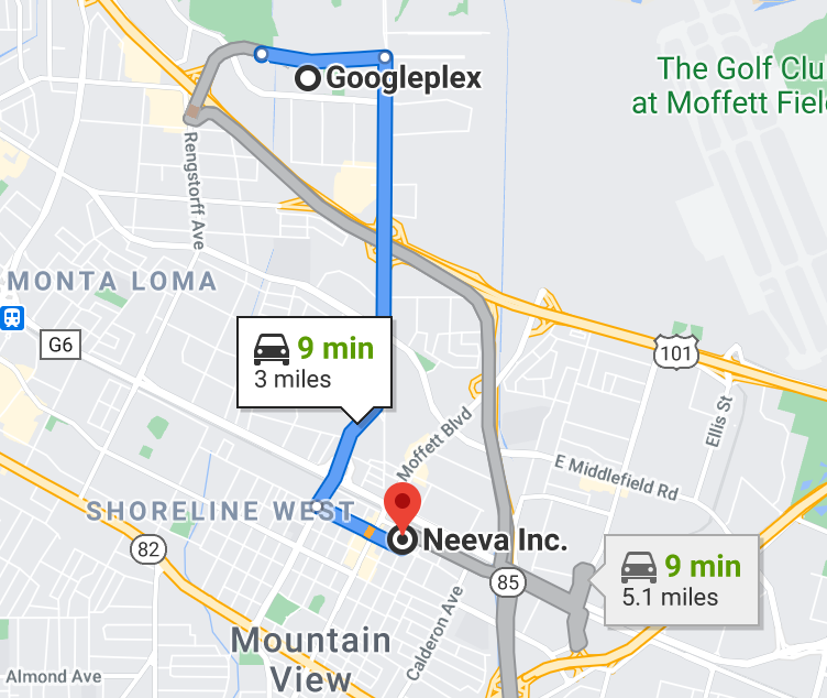 Distance between Google and Neeva