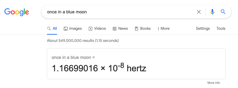 """When you search """"once in a Blue Moon"""", Google will guide you to the mathematical equation for the occurrence of a blue moon. The calculator will show the result of """"once in a blue moon = 1.16699016 × 10-8 hertz""""."""