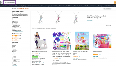 Clown Shoes not indexed for unicorn on Amazon.