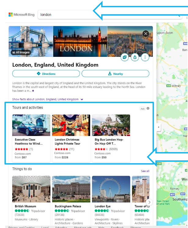 Bing maps tours and activities ad
