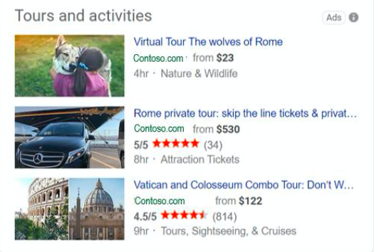 bing serp tours and activity ads