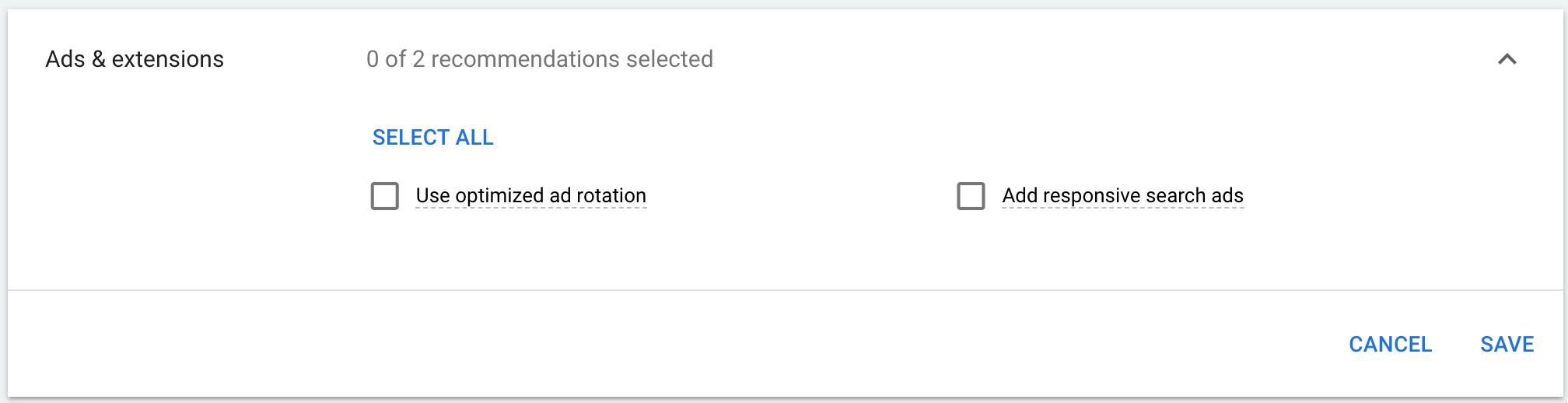 Google recommendations related to ads and extensions.