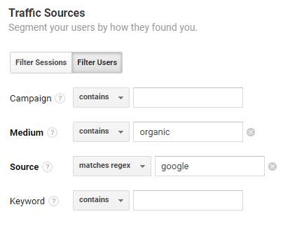 custom dimension set to google organic in google analytics