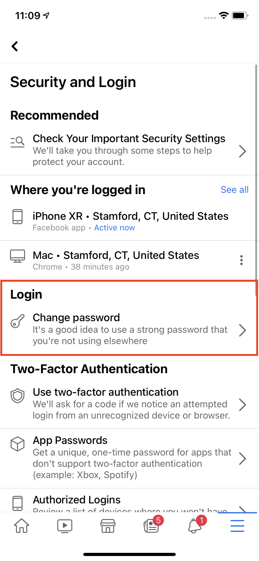 """Choose the """"Change your password"""" option."""