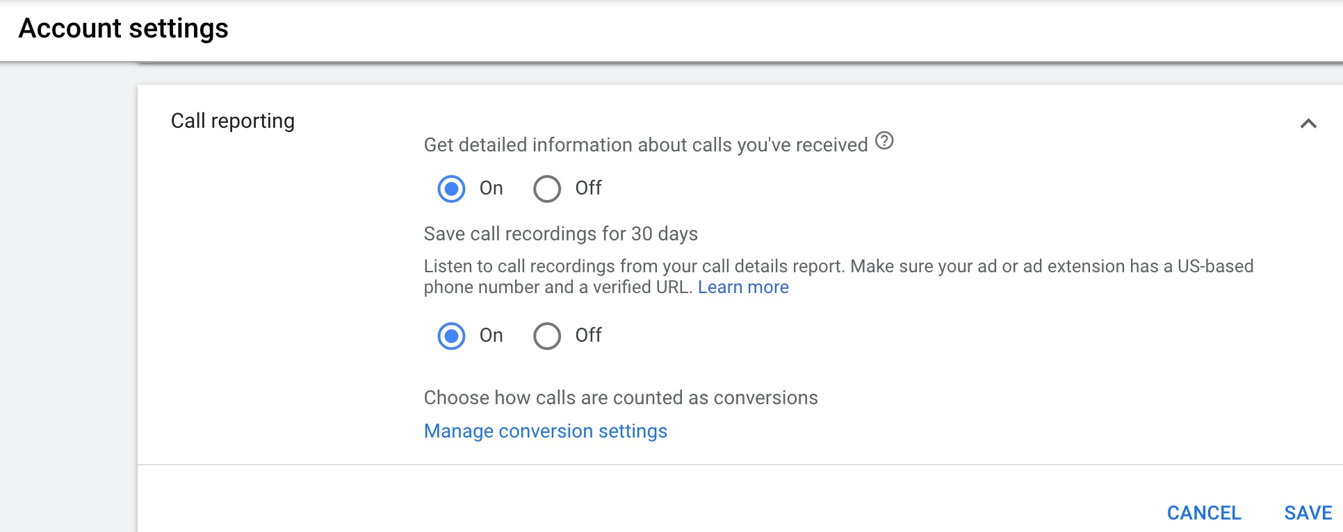 google call reporting
