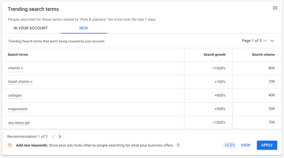 google insights page