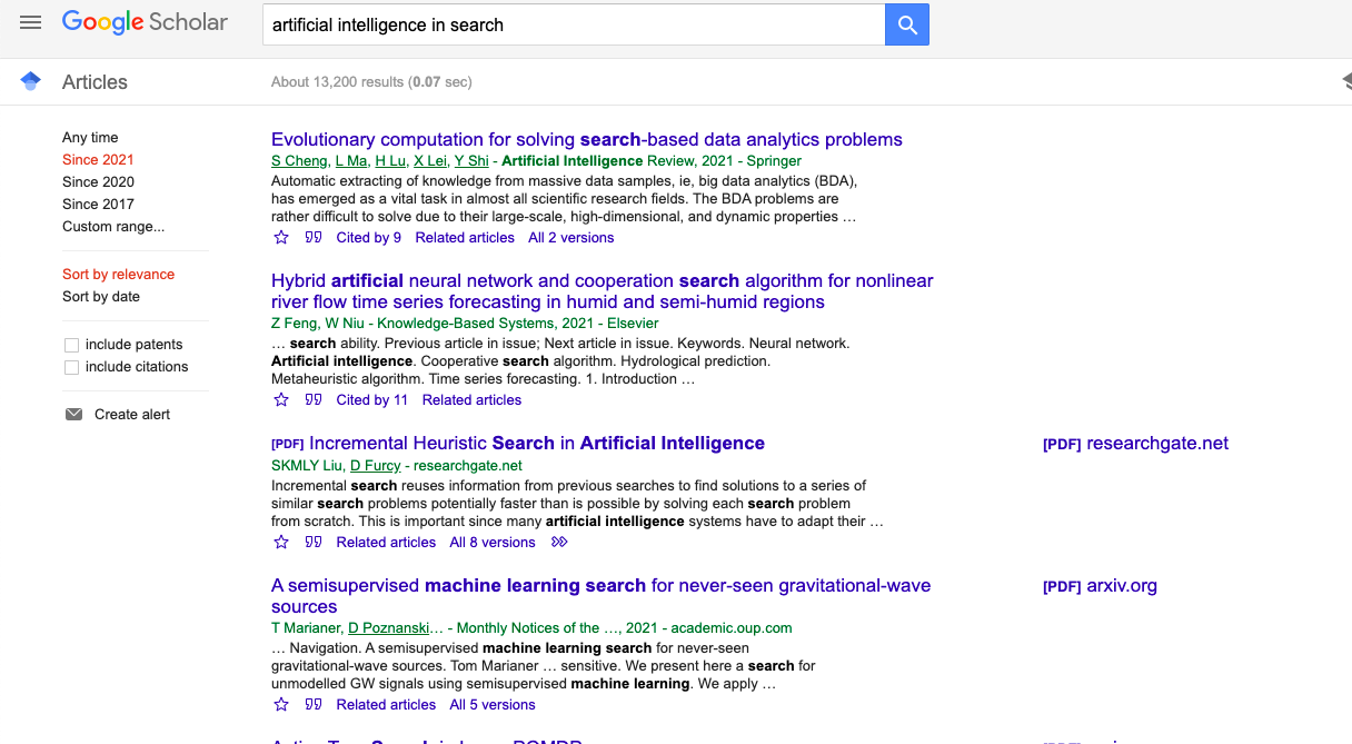 Sort by relevance or date, and filter to specific years to get the most recent research.
