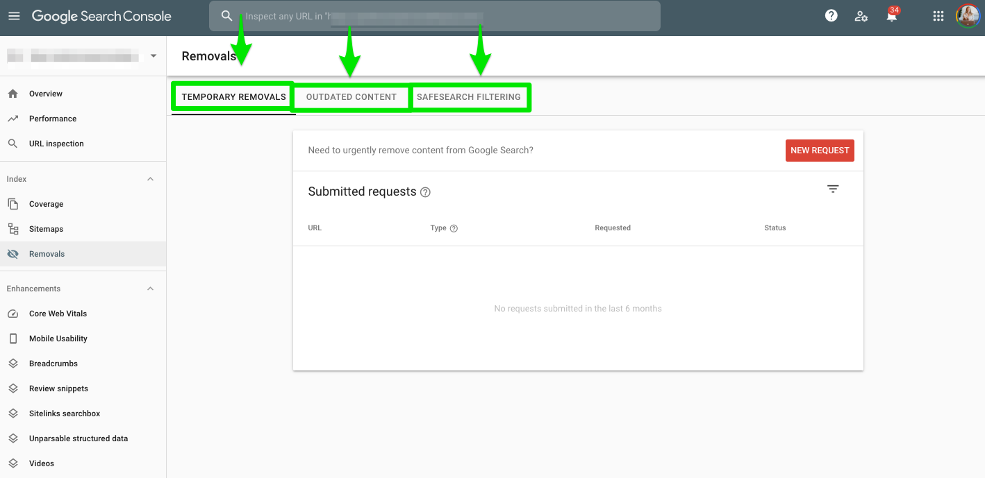 Google Search Console Removals section