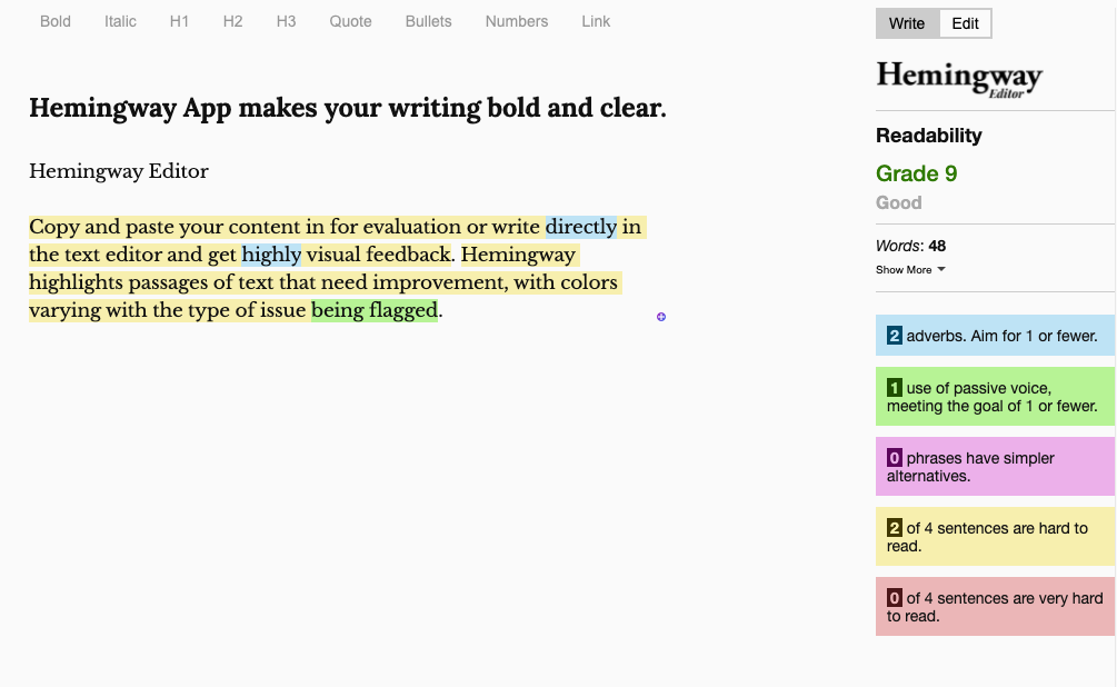 Hemingway Editor highlights passages of text that need improvement, with colors varying with the type of issue flagged.