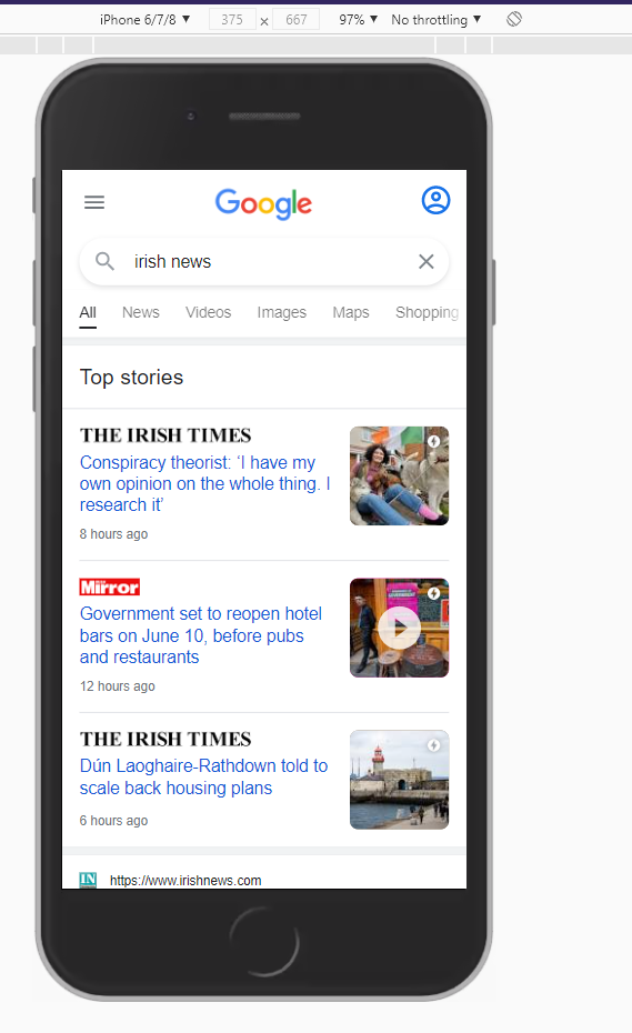 irish news search query mobile