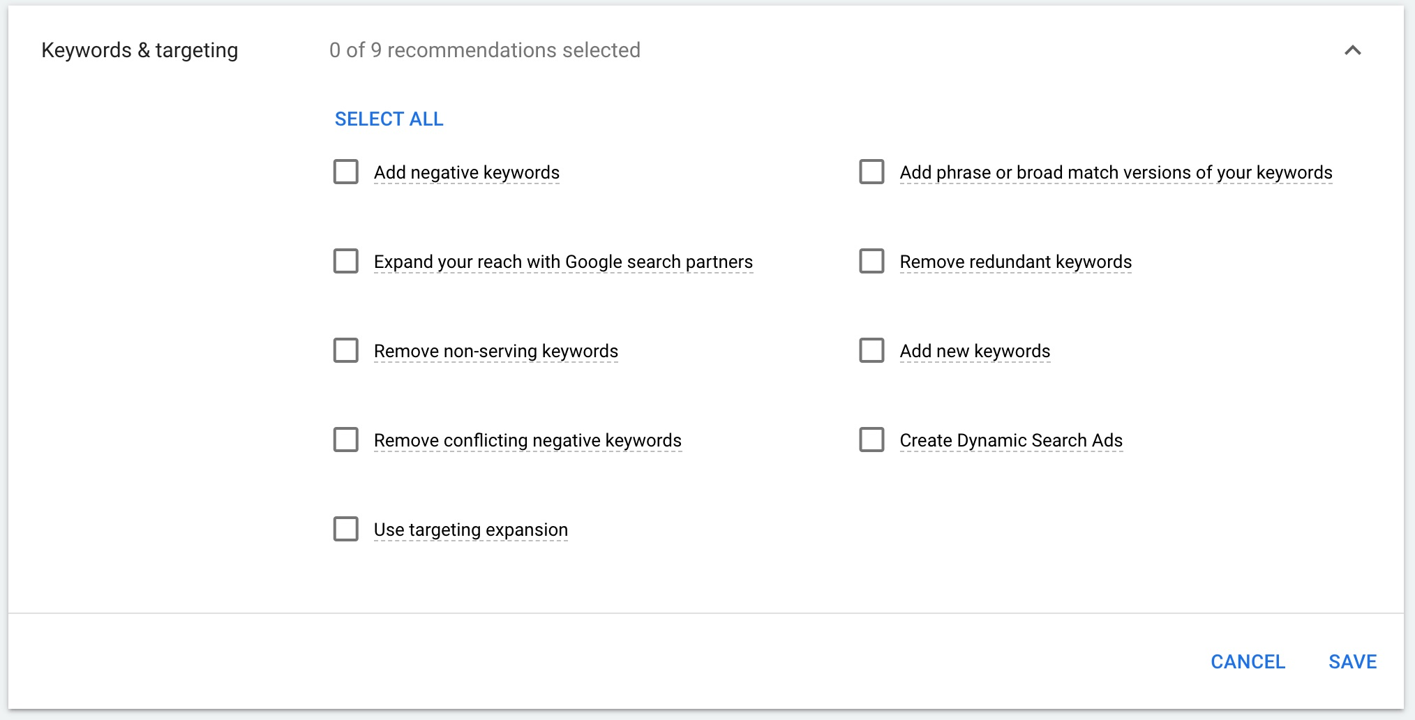 Recommendations for keywords and targeting.