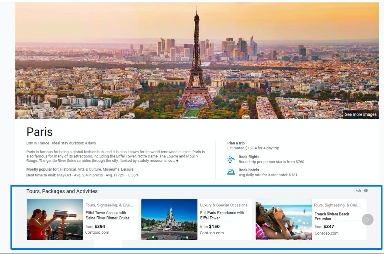Microsoft travel guide tours and activities ads
