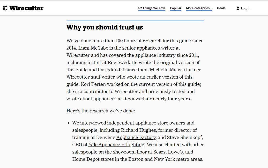 Why trust us paragraph in review.