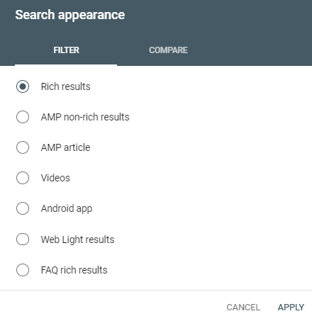 google search console device setting mobile to measure top stories