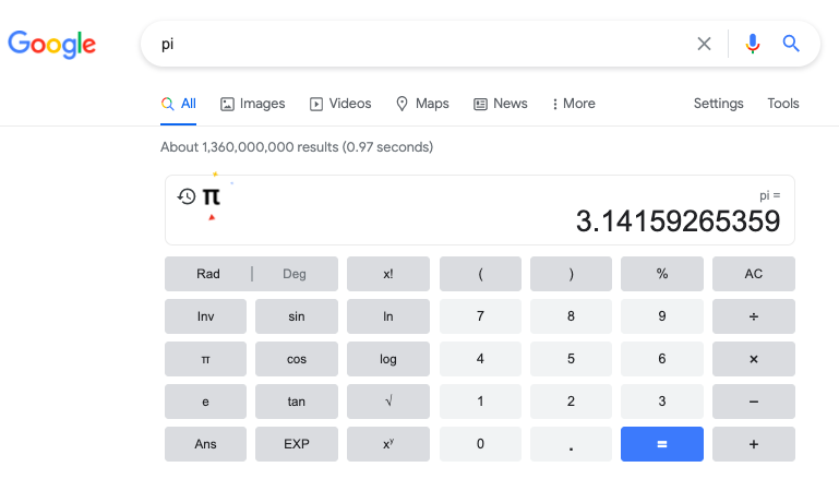 A calculator appears with the value of Pi.