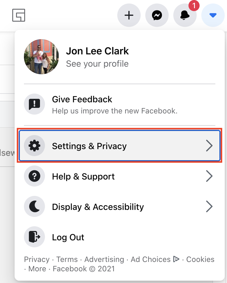 Settings and privacy option to choose on Facebook.