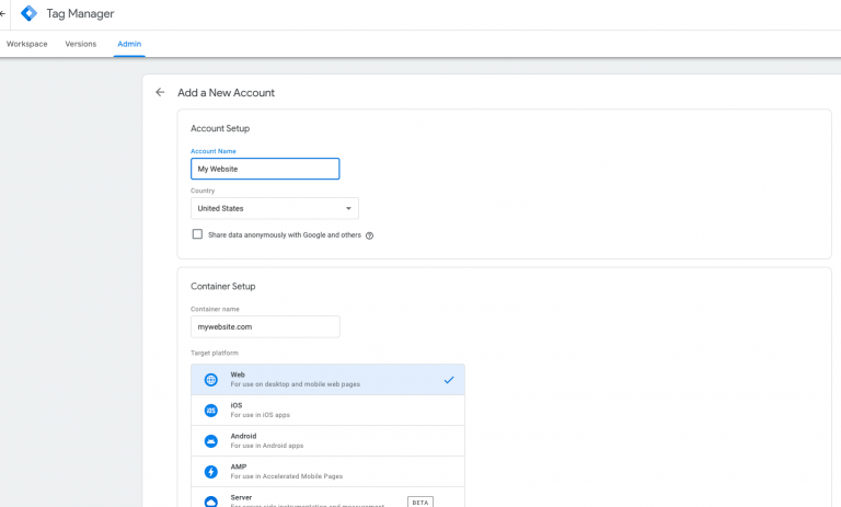The Tag Manager interface will walk you through setting up a new account.