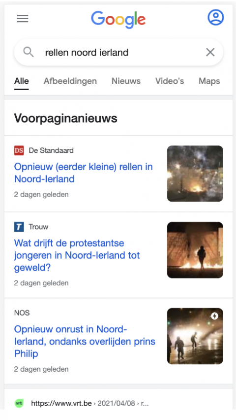 nonAMP result in top stories in Belgium