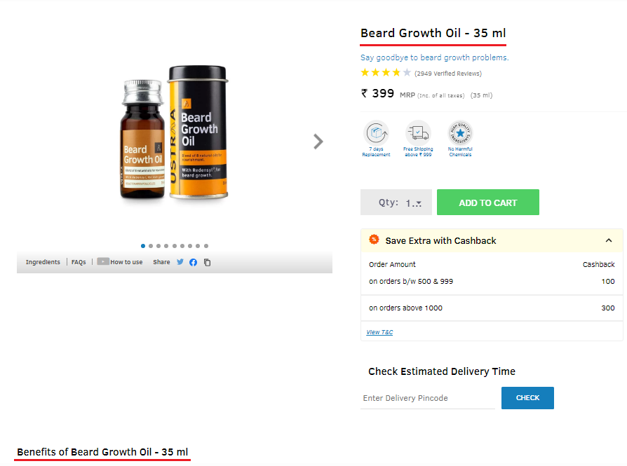Use keywords in Title, Heading Tags while writing product descriptions.