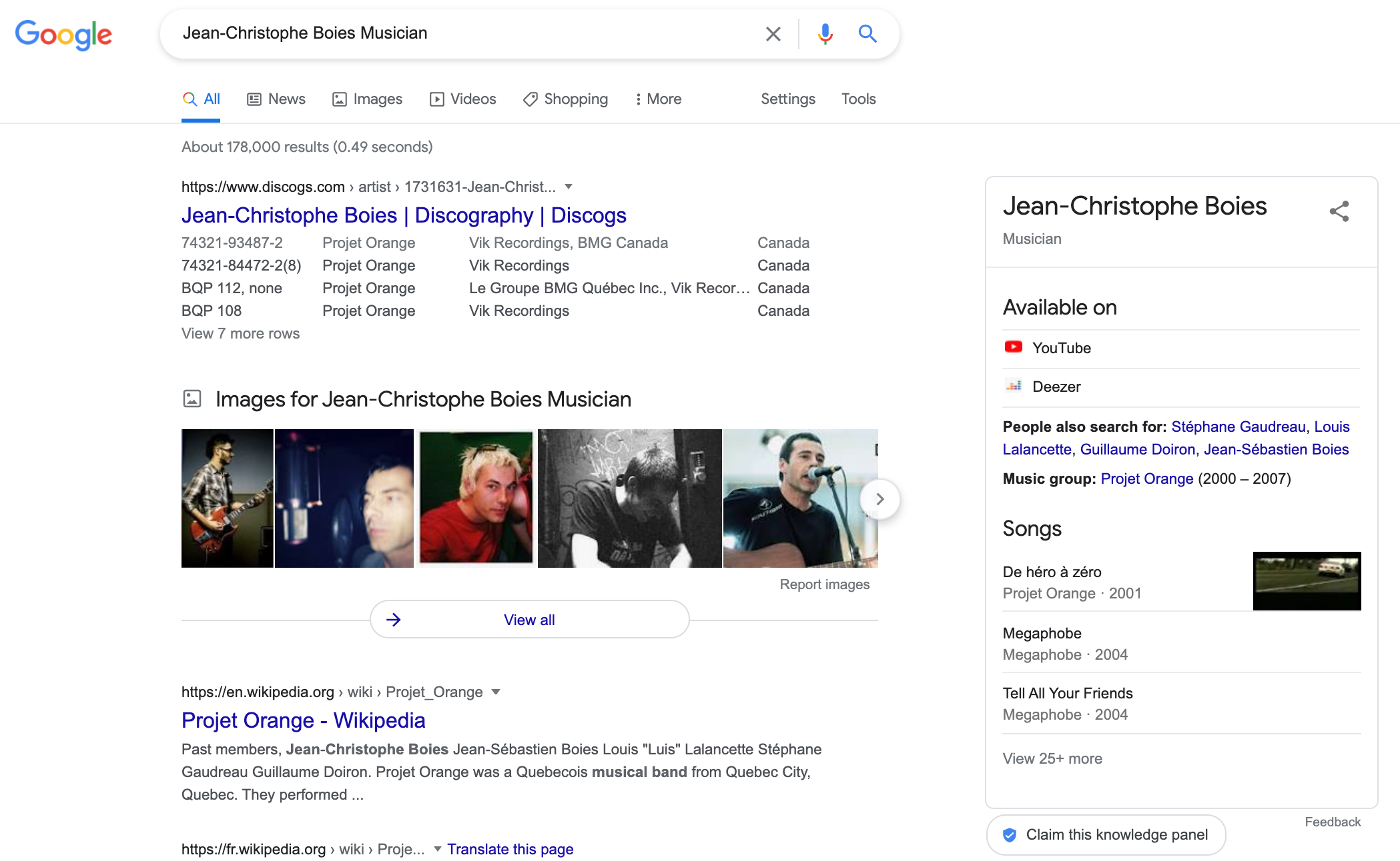 Knowledge Graph Results for Musician Jean Christophe Boies.