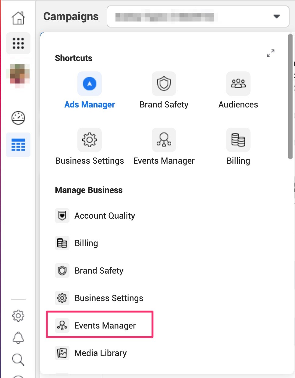 Select Events Manager in the Facebook navigation sidebar.