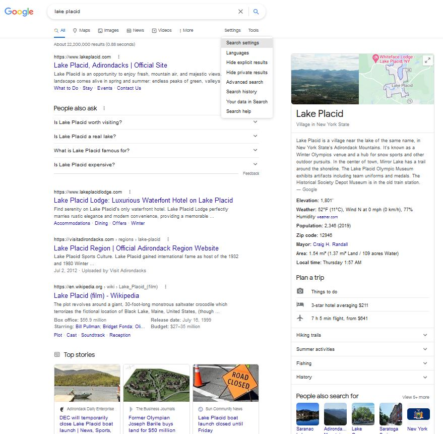 Additional search settings and tools in Google.