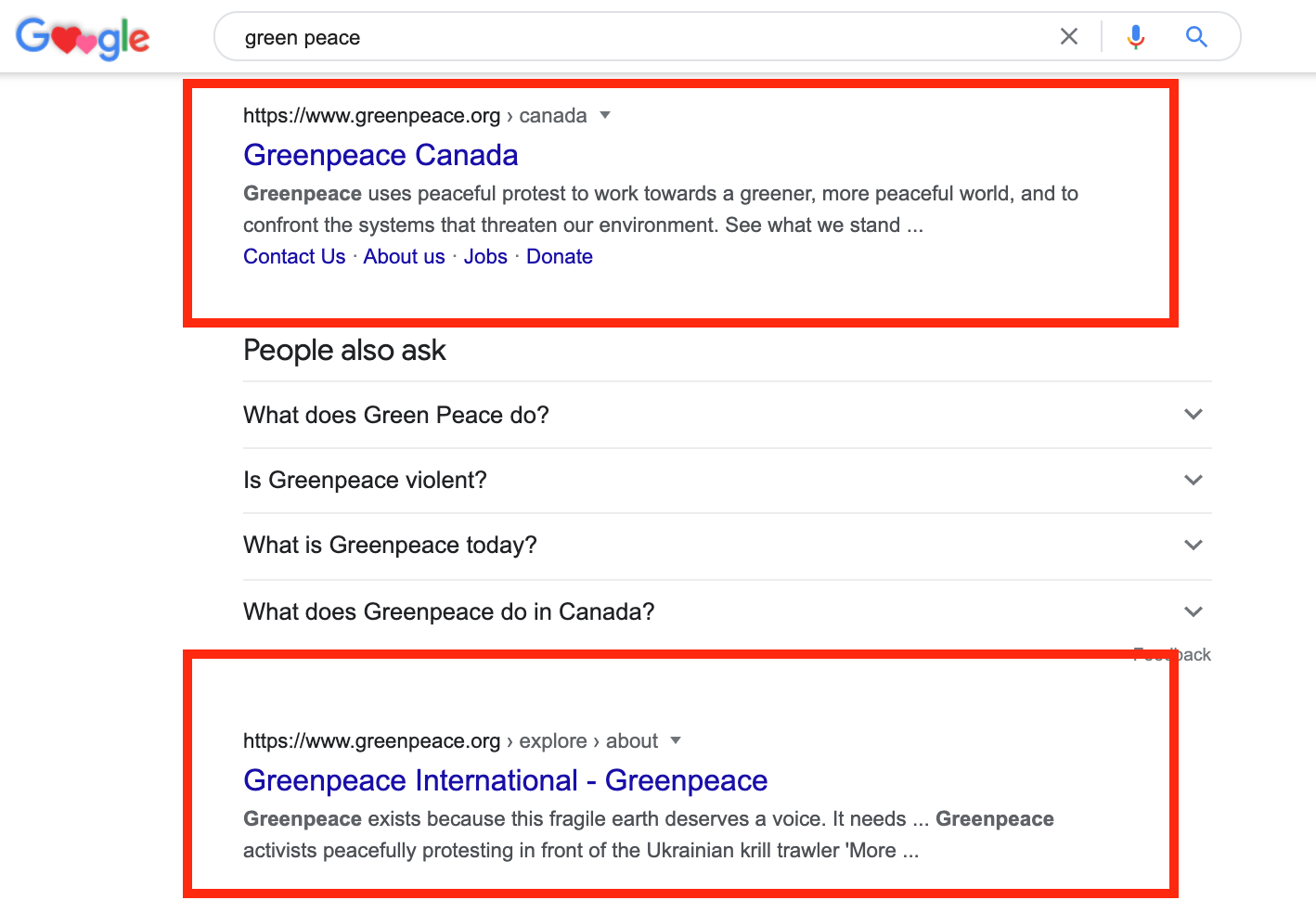 GreenPeace Website Pages in Branded Search.
