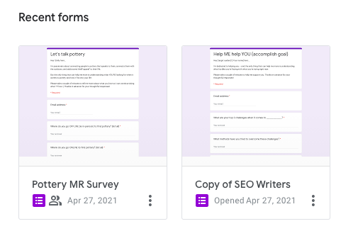 Google forms to create market research surveys.