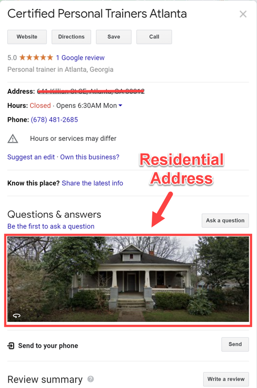 SAB listing with a residential address.