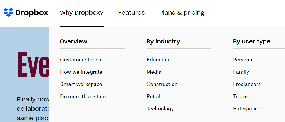 The Dropbox homepage answers the